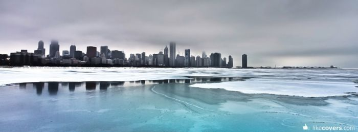 City frozen lake gray