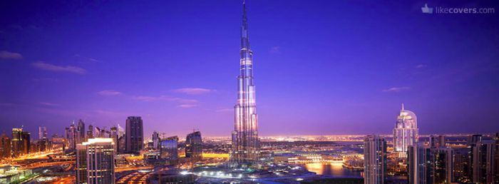 Dubai at night blue sky beautiful