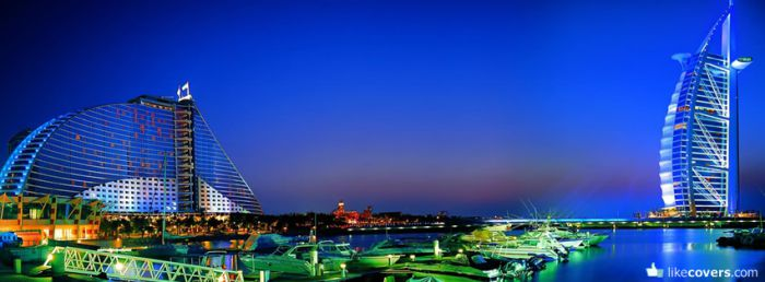 Dubai at night blue sky hotels
