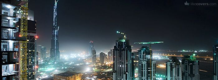 Dubai under contstruction at night