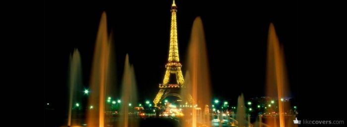 Eiffel Tower Paris at night with fountains
