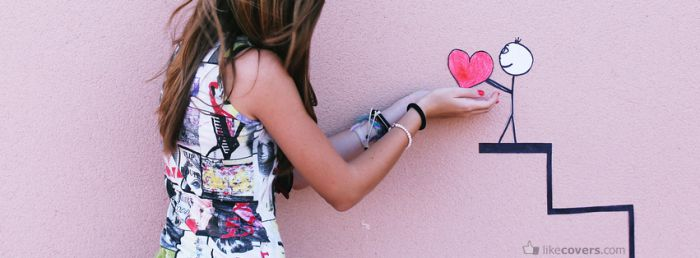 Girl stickman holding heart