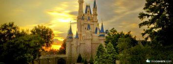 Disney Land Castle Yellow Sunset